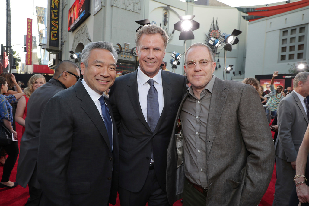 ". Kevin Tsujihara, Chairman and CEO of Warner Bros., Producer/Actor Will Ferrell and Toby Emmerich, President and Chief Content Officer, Warner Bros. Pictures Group, seen at New Line Cinema Presents ""The House\"" Los Angeles Premiere at TCL Chinese Theatre on Monday, June 26, 2017, in Hollywood, CA. (Photo by Eric Charbonneau/Invision for Warner Bros./AP Images)"