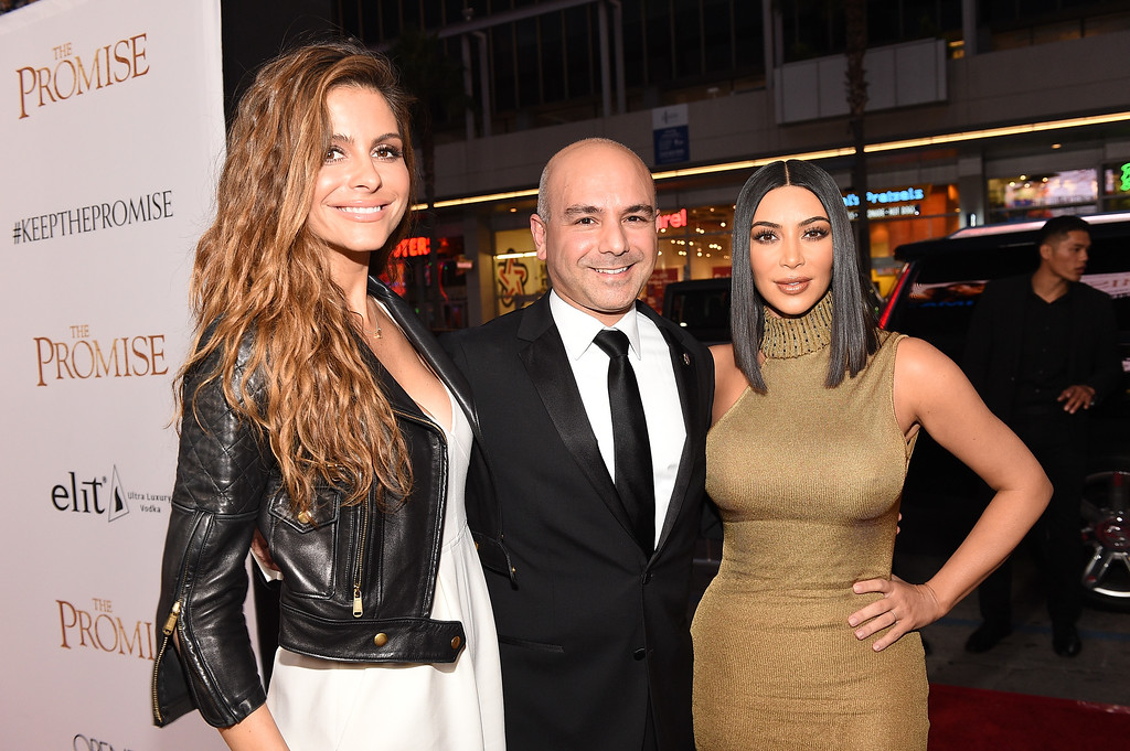 """. HOLLYWOOD, CA - APRIL 12:  (L-R) TV personality Maria Menounos, producer Eric Esrailian, and TV personality Kim Kardashian West attend the premiere of Open Road Films\' \""""The Promise\"""" at TCL Chinese Theatre on April 12, 2017 in Hollywood, California.  (Photo by Kevork Djansezian/Getty Images)"""