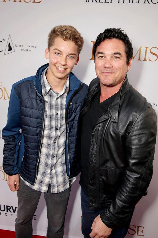 """. Christopher Dean Cain and Dean Cain seen at Open Road Films US Premiere of \""""The Promise\"""" at TCL Chinese Theatre on Wednesday, April 12, 2017, in Los Angeles. (Photo by Eric Charbonneau/Invision for Open Road Films/AP Images)"""
