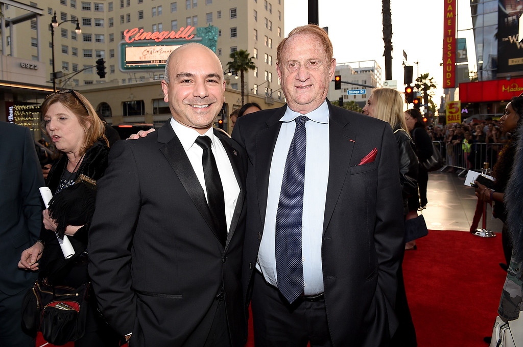 """. HOLLYWOOD, CA - APRIL 12:  Producers Eric Esrailian (L) and Mike Medavoy attend the premiere of Open Road Films\' \""""The Promise\"""" at TCL Chinese Theatre on April 12, 2017 in Hollywood, California.  (Photo by Kevork Djansezian/Getty Images)"""