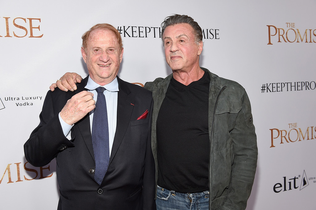 """. HOLLYWOOD, CA - APRIL 12:  Producer Mike Medavoy (L) and actor Sylvester Stallone attend the premiere of Open Road Films\' \""""The Promise\"""" at TCL Chinese Theatre on April 12, 2017 in Hollywood, California.  (Photo by Kevork Djansezian/Getty Images)"""