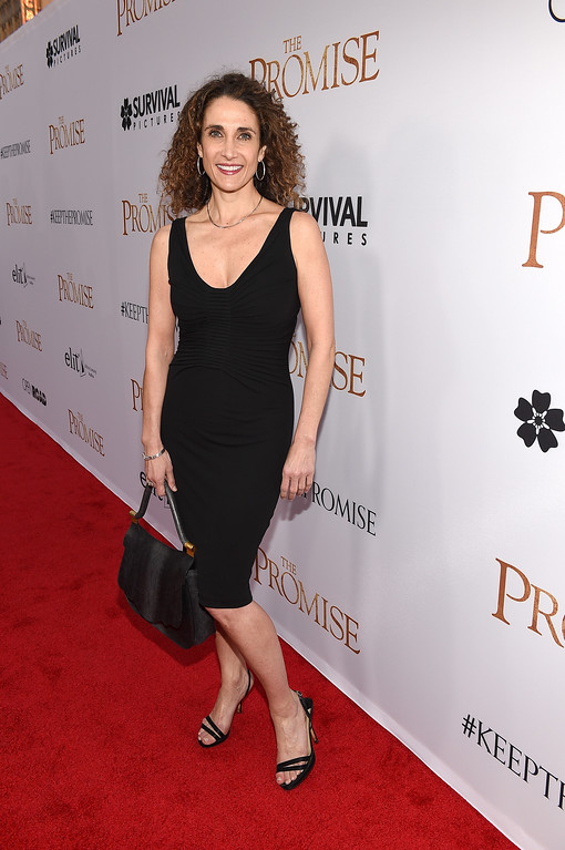 """. HOLLYWOOD, CA - APRIL 12:  Actor Melina Kanakaredes attends the premiere of Open Road Films\' \""""The Promise\"""" at TCL Chinese Theatre on April 12, 2017 in Hollywood, California.  (Photo by Kevork Djansezian/Getty Images)"""