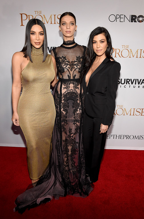 """. HOLLYWOOD, CA - APRIL 12:  TV personality Kim Kardashian West, actor Angela Sarafyan, and TV personality Kourtney Kardashian attend the premiere of Open Road Films\' \""""The Promise\"""" at TCL Chinese Theatre on April 12, 2017 in Hollywood, California.  (Photo by Kevork Djansezian/Getty Images)"""