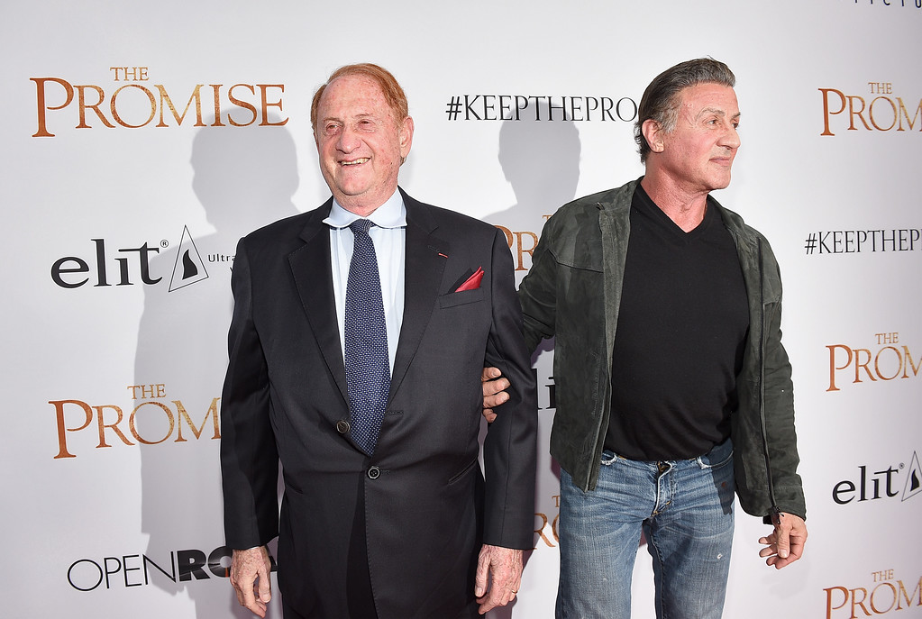 ". HOLLYWOOD, CA - APRIL 12:  Producer Mike Medavoy (L) and actor Sylvester Stallone attend the premiere of Open Road Films\' ""The Promise\"" at TCL Chinese Theatre on April 12, 2017 in Hollywood, California.  (Photo by Kevork Djansezian/Getty Images)"