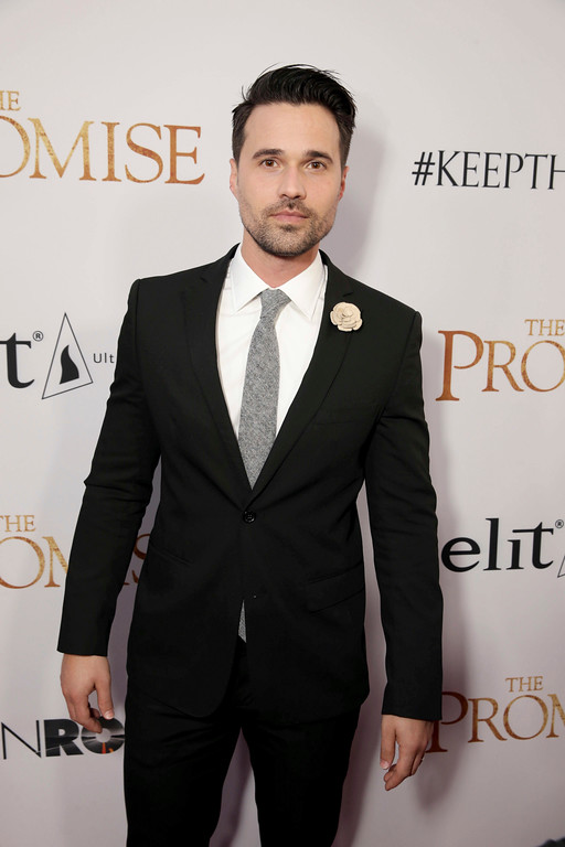""". Brett Dalton seen at Open Road Films US Premiere of \""""The Promise\"""" at TCL Chinese Theatre on Wednesday, April 12, 2017, in Los Angeles. (Photo by Eric Charbonneau/Invision for Open Road Films/AP Images)"""