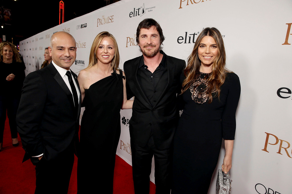 """. Producer Eric Esrailian, Melina Esrailian, Christian Bale and Sibi Blazic seen at Open Road Films US Premiere of \""""The Promise\"""" at TCL Chinese Theatre on Wednesday, April 12, 2017, in Los Angeles. (Photo by Eric Charbonneau/Invision for Open Road Films/AP Images)"""