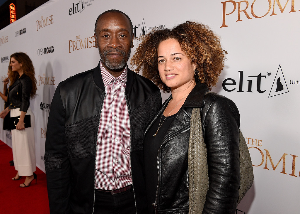 """. HOLLYWOOD, CA - APRIL 12:  Actor Don Cheadle (L) and Bridgid Coulter attend the premiere of Open Road Films\' \""""The Promise\"""" at TCL Chinese Theatre on April 12, 2017 in Hollywood, California.  (Photo by Kevork Djansezian/Getty Images)"""