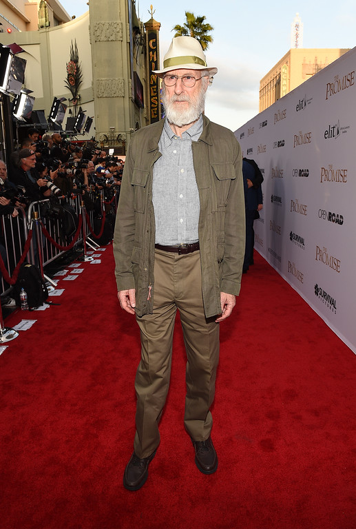 ". HOLLYWOOD, CA - APRIL 12:  Actor James Cromwell attends the premiere of Open Road Films\' ""The Promise\"" at TCL Chinese Theatre on April 12, 2017 in Hollywood, California.  (Photo by Kevork Djansezian/Getty Images)"