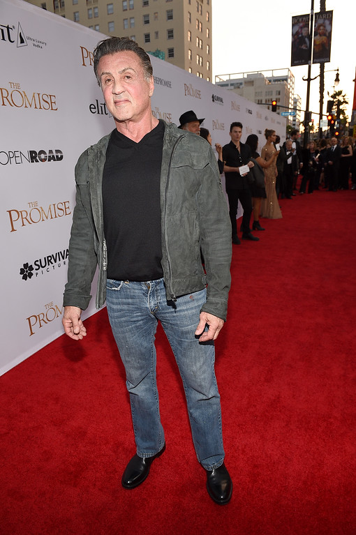 ". HOLLYWOOD, CA - APRIL 12:  Actor Sylvester Stallone attends the premiere of Open Road Films\' ""The Promise\"" at TCL Chinese Theatre on April 12, 2017 in Hollywood, California.  (Photo by Kevork Djansezian/Getty Images)"