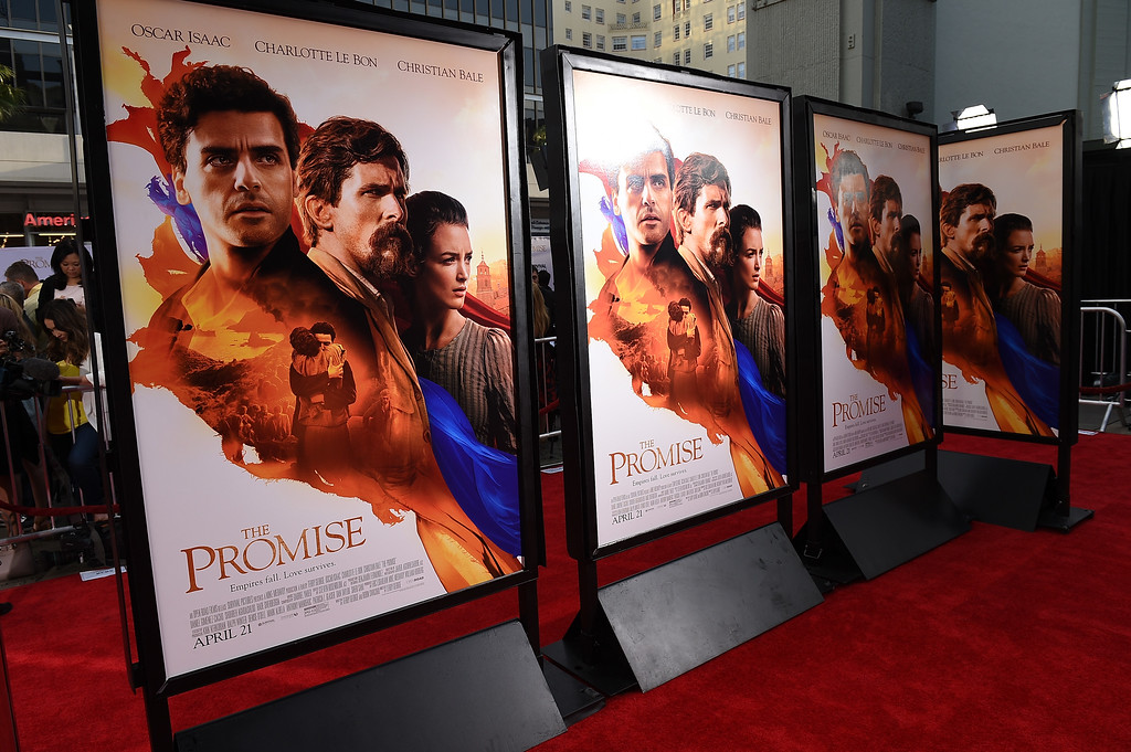 """. HOLLYWOOD, CA - APRIL 12:  Signage is seen during the premiere of Open Road Films\' \""""The Promise\"""" at TCL Chinese Theatre on April 12, 2017 in Hollywood, California.  (Photo by Kevork Djansezian/Getty Images)"""