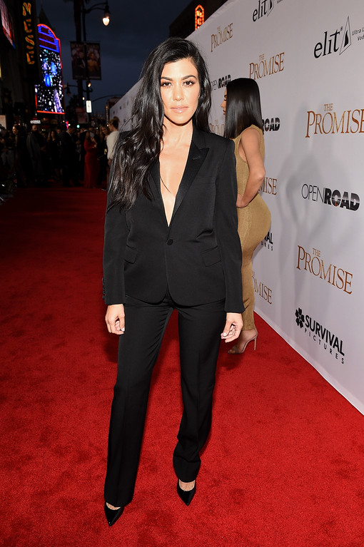 """. HOLLYWOOD, CA - APRIL 12:  TV personality Kourtney Kardashian attends the premiere of Open Road Films\' \""""The Promise\"""" at TCL Chinese Theatre on April 12, 2017 in Hollywood, California.  (Photo by Kevork Djansezian/Getty Images)"""