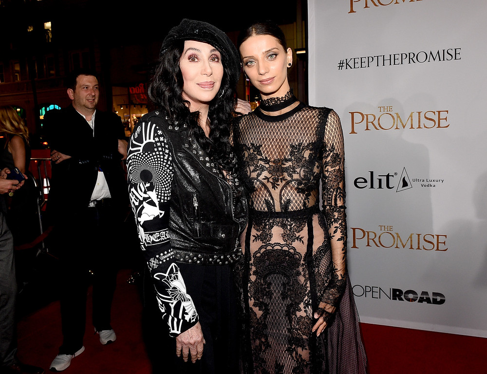 """. HOLLYWOOD, CA - APRIL 12:  Actor/singer Cher (L) and actor Angela Sarafyan attend the premiere of Open Road Films\' \""""The Promise\"""" at TCL Chinese Theatre on April 12, 2017 in Hollywood, California.  (Photo by Kevork Djansezian/Getty Images)"""
