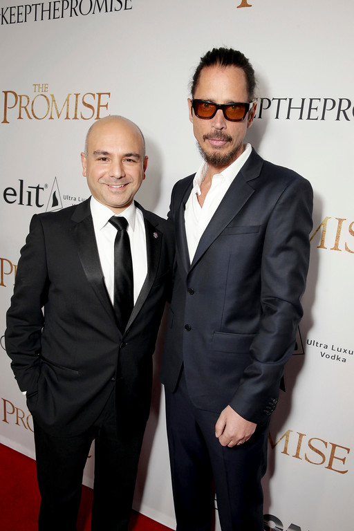""". Producer Eric Esrailian and Chris Cornell seen at Open Road Films US Premiere of \""""The Promise\"""" at TCL Chinese Theatre on Wednesday, April 12, 2017, in Los Angeles. (Photo by Eric Charbonneau/Invision for Open Road Films/AP Images)"""