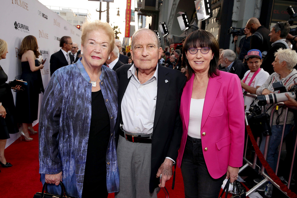 """. Cherna Gitnick, Dr Gary Gitnick and Madeleine Sherak seen at Open Road Films US Premiere of \""""The Promise\"""" at TCL Chinese Theatre on Wednesday, April 12, 2017, in Los Angeles. (Photo by Eric Charbonneau/Invision for Open Road Films/AP Images)"""