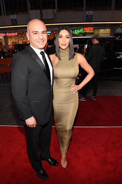 ". HOLLYWOOD, CA - APRIL 12:  Producer Eric Esrailian (L) and TV personality Kim Kardashian West attend the premiere of Open Road Films\' ""The Promise\"" at TCL Chinese Theatre on April 12, 2017 in Hollywood, California.  (Photo by Kevork Djansezian/Getty Images)"