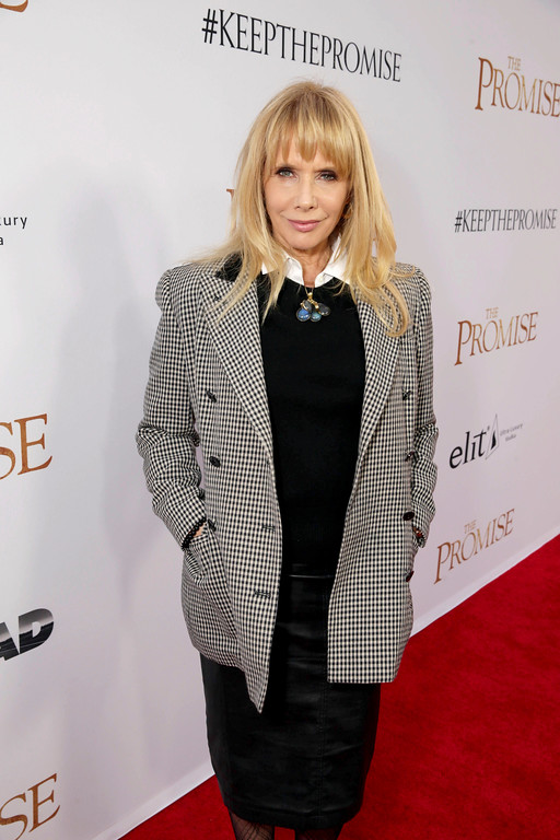 """. Rosanna Arquette seen at Open Road Films US Premiere of \""""The Promise\"""" at TCL Chinese Theatre on Wednesday, April 12, 2017, in Los Angeles. (Photo by Eric Charbonneau/Invision for Open Road Films/AP Images)"""