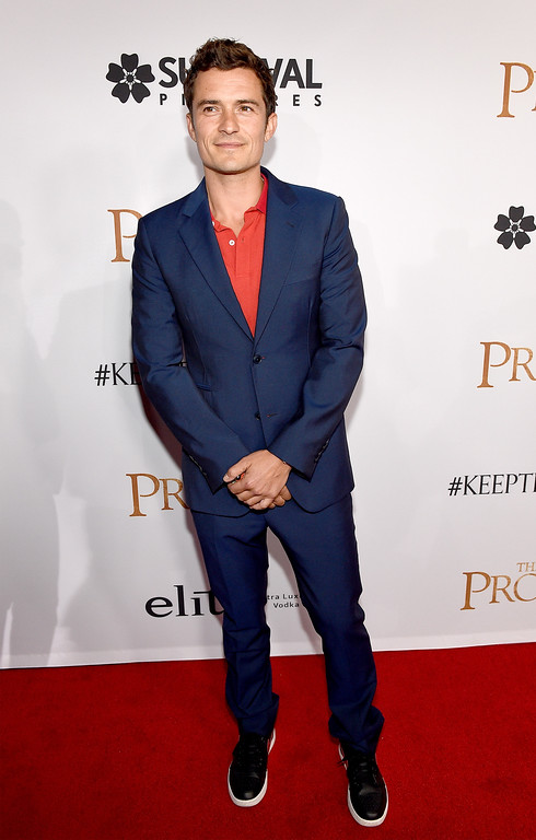 ". HOLLYWOOD, CA - APRIL 12:  Actor Orlando Bloom attends the premiere of Open Road Films\' ""The Promise\"" at TCL Chinese Theatre on April 12, 2017 in Hollywood, California.  (Photo by Kevork Djansezian/Getty Images)"