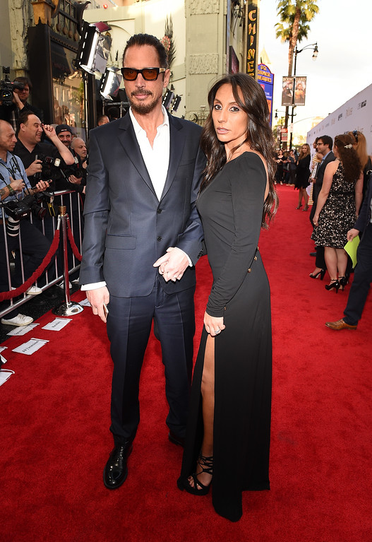 """. HOLLYWOOD, CA - APRIL 12:  Musician Chris Cornell (L) and Vicky Karayiannis attend the premiere of Open Road Films\' \""""The Promise\"""" at TCL Chinese Theatre on April 12, 2017 in Hollywood, California.  (Photo by Kevork Djansezian/Getty Images)"""