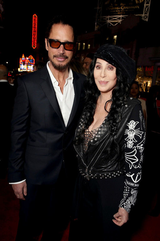 """. Chris Cornell and Cher seen at Open Road Films US Premiere of \""""The Promise\"""" at TCL Chinese Theatre on Wednesday, April 12, 2017, in Los Angeles. (Photo by Eric Charbonneau/Invision for Open Road Films/AP Images)"""