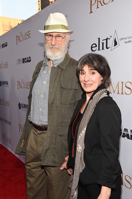 """. HOLLYWOOD, CA - APRIL 12:  Actor James Cromwell (L) and Anna Stuart attend the premiere of Open Road Films\' \""""The Promise\"""" at TCL Chinese Theatre on April 12, 2017 in Hollywood, California.  (Photo by Kevork Djansezian/Getty Images)"""