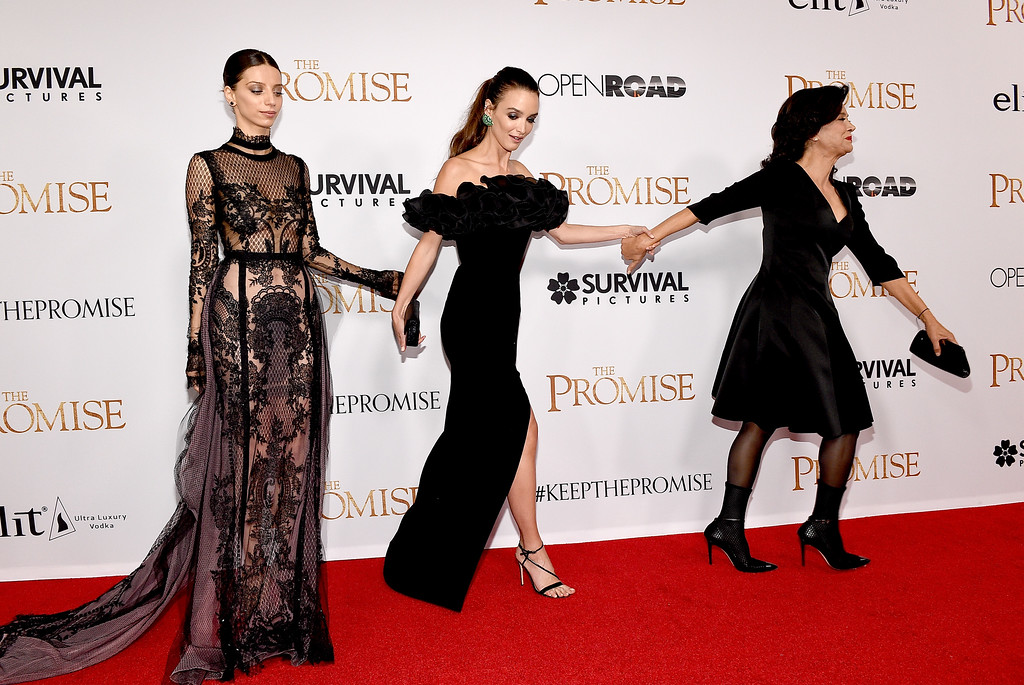 """. HOLLYWOOD, CA - APRIL 12:  (L-R) Actors Angela Sarafyan, Charlotte Le Bon, and Shohreh Aghdashloo attend the premiere of Open Road Films\' \""""The Promise\"""" at TCL Chinese Theatre on April 12, 2017 in Hollywood, California.  (Photo by Kevork Djansezian/Getty Images)"""