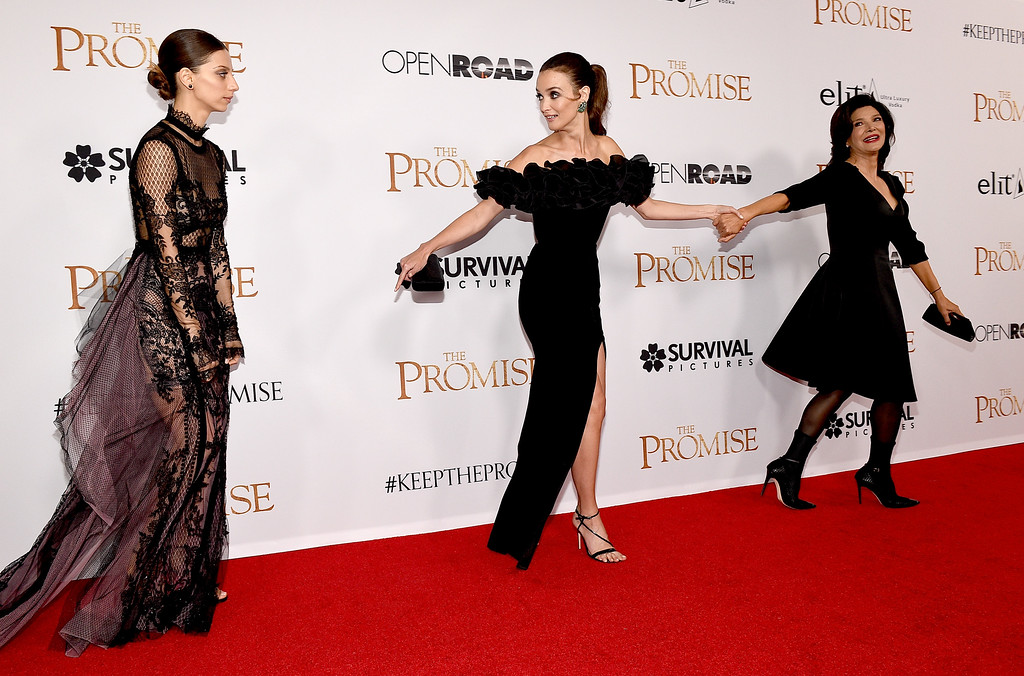 ". HOLLYWOOD, CA - APRIL 12:  (L-R) Actors Angela Sarafyan, Charlotte Le Bon, and Shohreh Aghdashloo attend the premiere of Open Road Films\' ""The Promise\"" at TCL Chinese Theatre on April 12, 2017 in Hollywood, California.  (Photo by Kevork Djansezian/Getty Images)"