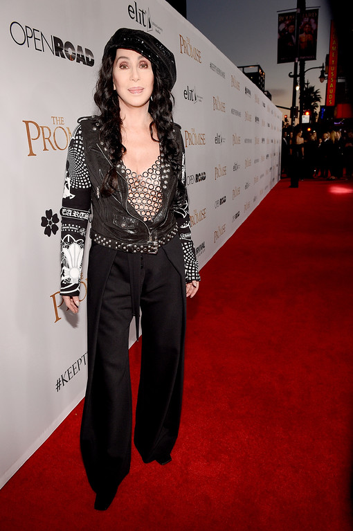 """. HOLLYWOOD, CA - APRIL 12:  Singer/actor Cher attends the premiere of Open Road Films\' \""""The Promise\"""" at TCL Chinese Theatre on April 12, 2017 in Hollywood, California.  (Photo by Kevork Djansezian/Getty Images)"""