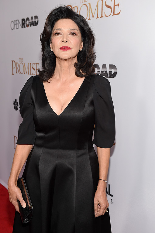""". HOLLYWOOD, CA - APRIL 12:  Actor Shohreh Aghdashloo attends the premiere of Open Road Films\' \""""The Promise\"""" at TCL Chinese Theatre on April 12, 2017 in Hollywood, California.  (Photo by Kevork Djansezian/Getty Images)"""