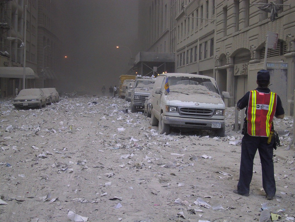 . Ash covers a street in downtown New York City after the collapse of the World Trade Center following a terrorist attack Tuesday, Sept. 11, 2001. (AP Photo/Bernadette Tuazon)