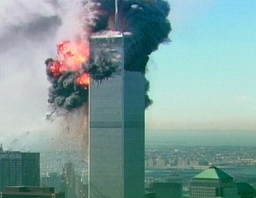. A ball of fire explodes from one of the towers at the World Trade Center in New York after a plane crashed into it in this image made from television Tuesday Sept. 11, 2001. The aircraft was the second to fly into the tower Tuesday morning. (AP Photo/ABC via APTN)
