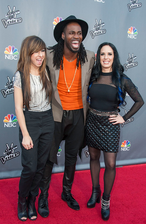 ". UNIVERSAL CITY, CA - APRIL 15:  (L-R) Christina Grimmie, Delvin Choice and Kat Perkins arrive at  NBC\'s ""The Voice\"" Season 6 Top 12 Red Carpet Event at Universal CityWalk on April 15, 2014 in Universal City, California.  (Photo by Valerie Macon/Getty Images)"