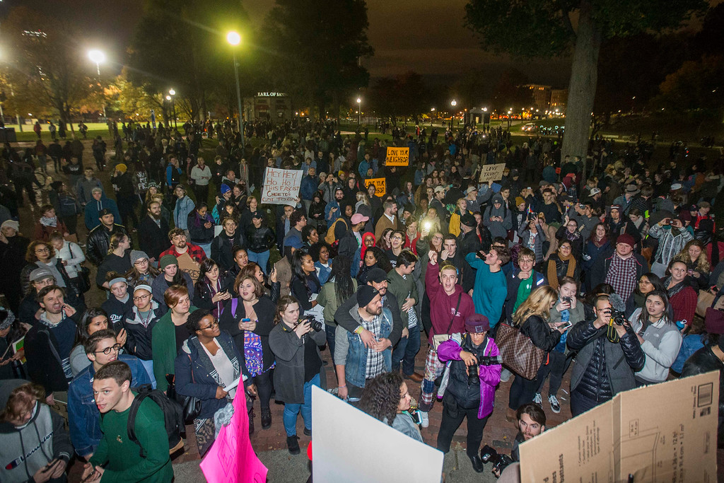 . BOSTON, MA - NOVEMBER 09:  Thousands gather in the Boston Common to protest the election of Donald Trump on November 9, 2016 in Boston, Massachusetts. Trump defeated Democrat Hillary Clinton in an upset to become the 45th president. (Photo by Scott Eisen/Getty Images)