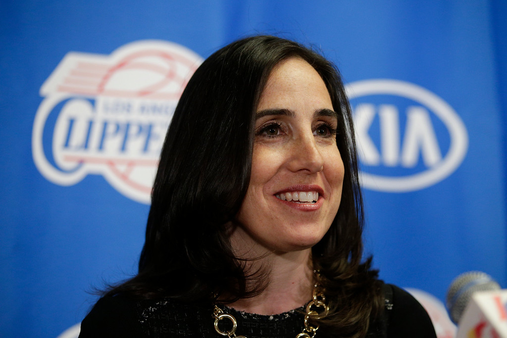 . <b>No. 37 Gillian Zucker<br/> Title: President of Business Operations, Clippers - Age: 45</b> <br/>One of two women currently serving as the president or CEO of a major professional sports franchise, Zucker was already a fixture in the L.A. sports scene as the president of the Auto Club Speedway in Fontana for the last nine years.  (AP Photo/Jae C. Hong)