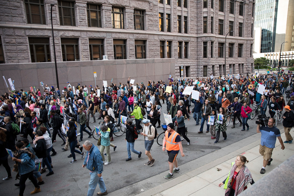 . A large crowd marches during a protest against the announcement that the Trump administration is ending the Deferred Action for Childhood Arrivals program, known as DACA, in Minneapolis, Tuesday, Sept. 5, 2017. (Renee Jones Schneider/Star Tribune via AP)