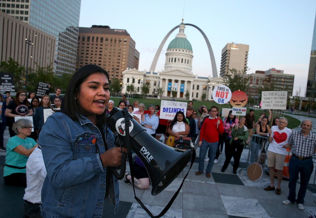 . Vivian Garcia Cruz, 18, a self-described DACA student speaks at a rally in St. Louis\' Kiener Plaza on Tuesday, Sept. 5, 2017, as supporters of the Deferred Action for Childhood Arrivals gather to voice their opposition to President Trump\'s decision to end the federal program from the Obama administration. (Christian Gooden/St. Louis Post-Dispatch via AP)