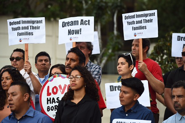 . Supporters of DACA rally Tuesday, Sept. 5, 2017, outside the Federal Building in downtown Los Angeles after Attorney General Jeff Sessions announced that the administration is ending the program that allows the children of undocumented immigrants to legally live and work in the U.S. (Photo by Hans Gutknecht/Los Angeles Daily News)