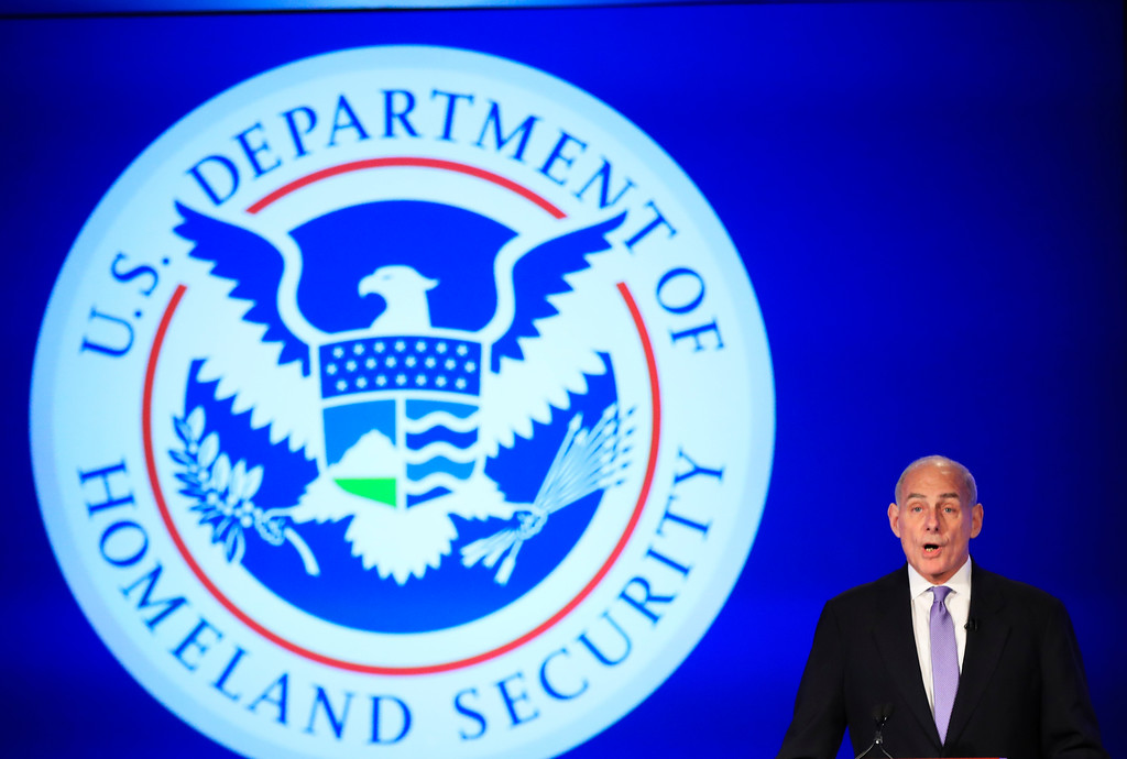 ". File - Homeland Security Secretary John Kelly speaks during a forum ""Home & Away: Threats to America and the Department of Homeland Security response,\"" Tuesday, April 18, 2017, at George Washington University in Washington. Trump named Kelly as his new Chief of Staff on July 28, 2017. (AP Photo/Manuel Balce Ceneta)"