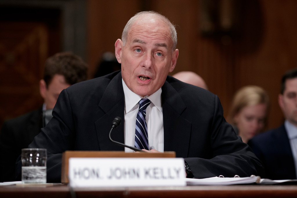 . File - Homeland Security Secretary John Kelly appears before the Senate Homeland Security and Governmental Affairs Committee to advance President Donald Trump\'s border security agenda, on Capitol Hill in Washington, Wednesday, April 5, 2017. Trump named Kelly as his new Chief of Staff on July 28, 2017.  (AP Photo/J. Scott Applewhite)