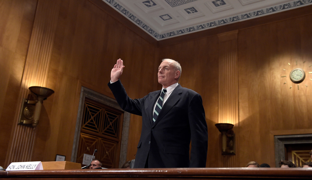. Homeland Security Secretary John F. Kelly is sworn in before testifying on Capitol Hill in Washington, Tuesday, June 6, 2017, before the Senate Homeland Security and Governmental Affairs Committee hearing on the fiscal year 2018 budget. (AP Photo/Susan Walsh)