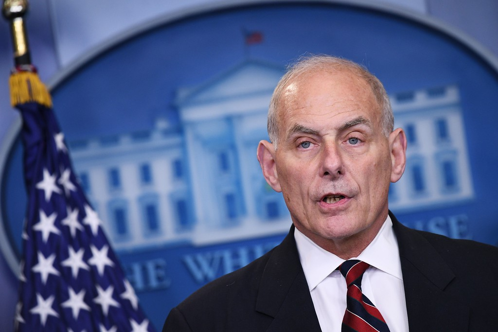. File - Homeland Security Secretary John Kelly speaks in the Brady Briefing Room of the White House on May 2, 2017 in Washington, DC. Trump named Kelly as his new Chief of Staff on July 28, 2017.  (MANDEL NGAN/AFP/Getty Images)