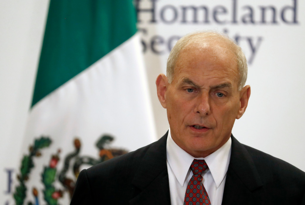 . File - U.S. Homeland Security Secretary John Kelly speaks during a joint statement with Mexico\'s Interior Secretary Miguel Angel Osorio Chong, not seen, in Mexico City Friday, July 7, 2017.  Trump named Kelly as his new Chief of Staff on July 28, 2017. (AP Photo/Eduardo Verdugo)