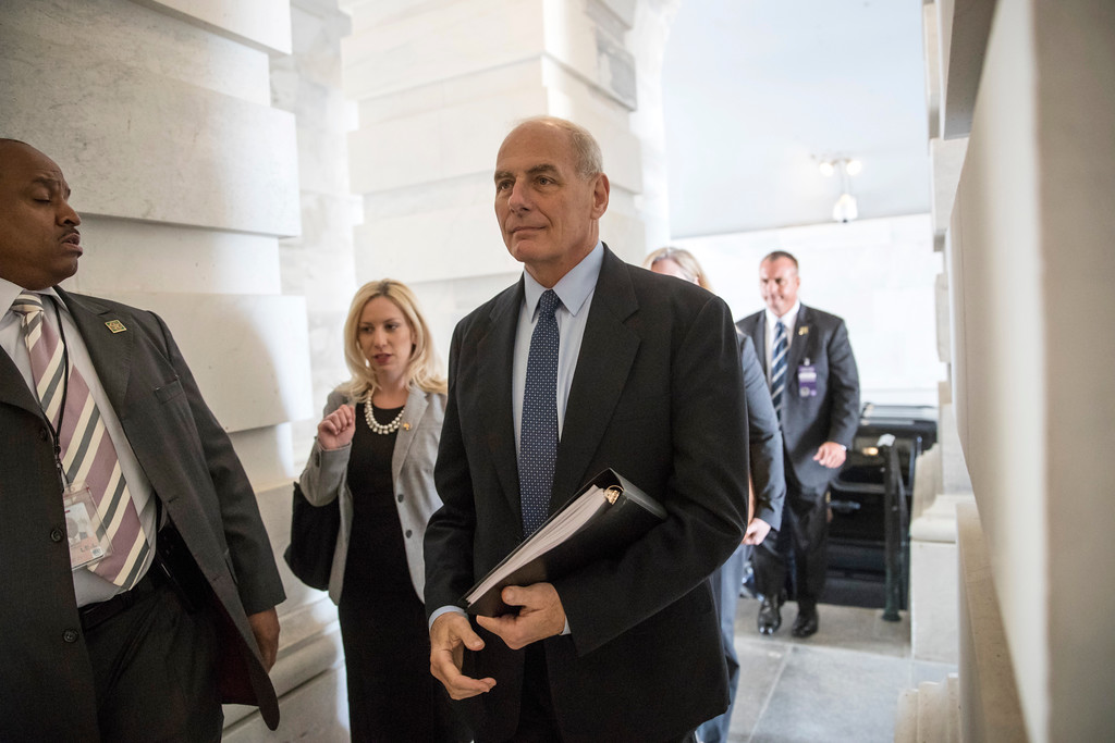 . Homeland Security Secretary John Kelly arrives at the Capitol in Washington, Thursday, June 22, 2017. (AP Photo/J. Scott Applewhite)