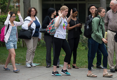 Students at UCLA after a murder-suicide Wednesday morning at UCLA left two dead, and prompted a campus-wide lockdown, according to the Los Angeles Police Department.. (Thomas R. Cordova/Southern California News Group)
