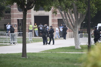 Police at the scene of a fatal shooting at the University of California, Los Angeles, on Wednesday, June 1, 2016, in Los Angeles. (Gene Blevins/Los Angeles Daily News)
