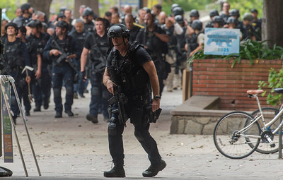 Police finish their search after a murder-suicide Wednesday morning at UCLA left two dead, and prompted a campus-wide lockdown, according to the Los Angeles Police Department.. (Thomas R. Cordova/Southern California News Group)