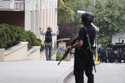 Police evacuate students at the scene of a fatal shooting at the University of California, Los Angeles, on Wednesday, June 1, 2016, in Los Angeles. (Gene Blevins/Los Angeles Daily News)