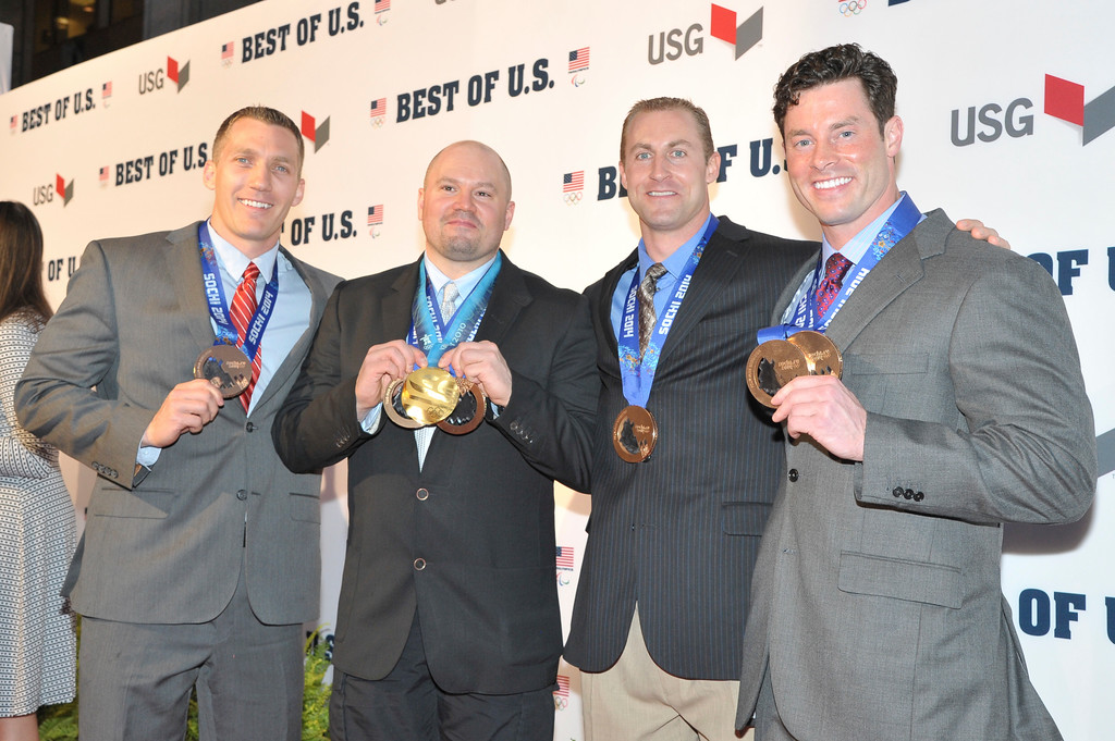 . WASHINGTON, DC - APRIL 02: Chris Fogt, Steven Holcomb, Curt Tomasevicz and Steve Langton walk the red carpet during the U.S. Olympic Committee\'s Best of U.S. Awards at Warner Theatre on April 2, 2014 in Washington, DC. (Photo by Kris Connor/Getty Images for the USOC)