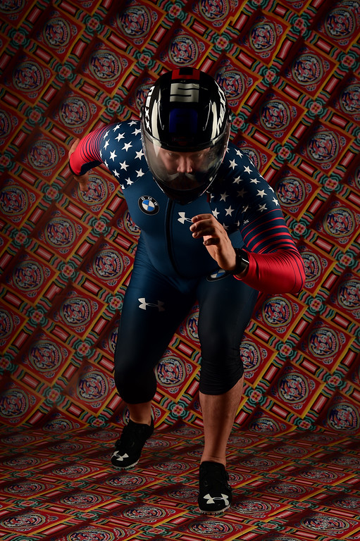 . File - Bobsledder Steven Holcomb poses for a portrait during the Team USA PyeongChang 2018 Winter Olympics portraits on April 27, 2017 in West Hollywood, California. Holcomb, the longtime U.S. bobsledding star who drove to three Olympic medals after beating a disease that nearly robbed him of his eyesight, was found dead in Lake Placid, N.Y., on Saturday, May 6, 2017.  He was 37.  (Photo by Harry How/Getty Images)