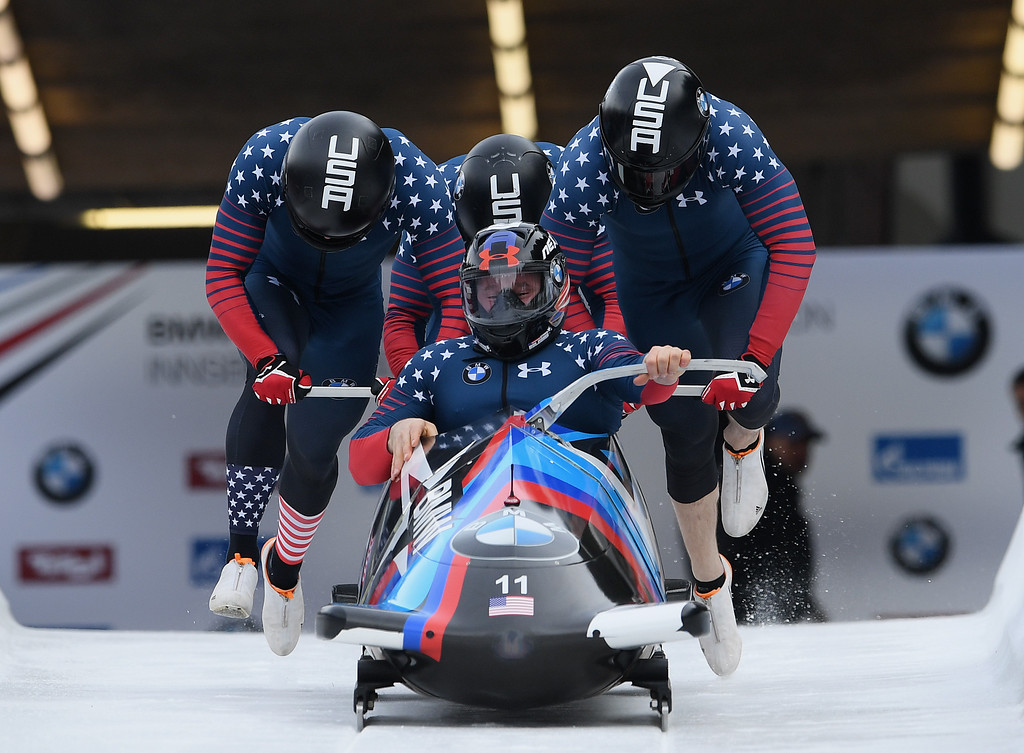 . File - Steven Holcomb, Carlo Valdes, James Reed and Samuel McGuffie of the United States compete during the first run of the 4-man Bobsleigh BMW IBSF World Cup at Olympiabobbahn Igls on February 5, 2017 in Innsbruck, Austria.  Holcomb, the longtime U.S. bobsledding star who drove to three Olympic medals after beating a disease that nearly robbed him of his eyesight, was found dead in Lake Placid, N.Y., on Saturday, May 6, 2017.  He was 37. (Photo by Matthias Hangst/Getty Images For IBSF)