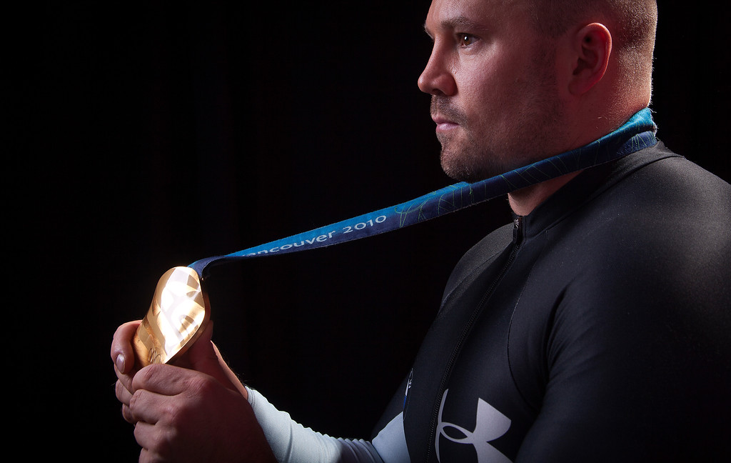 . United States Olympic Winter Games bobsled competitor Steven Holcomb poses for a portrait at the 2013 Team USA Media Summit on Monday, September 30, 2013 in Park City, UT. (AP Photo/Carlo Allegri)